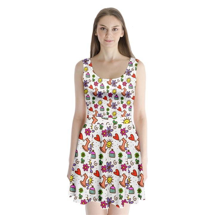 Doodle Pattern Split Back Mini Dress