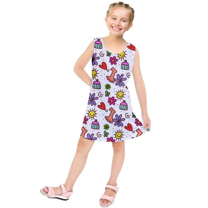 Doodle Pattern Kids  Tunic Dress
