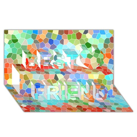 Colorful Mosaic  Best Friends 3D Greeting Card (8x4)