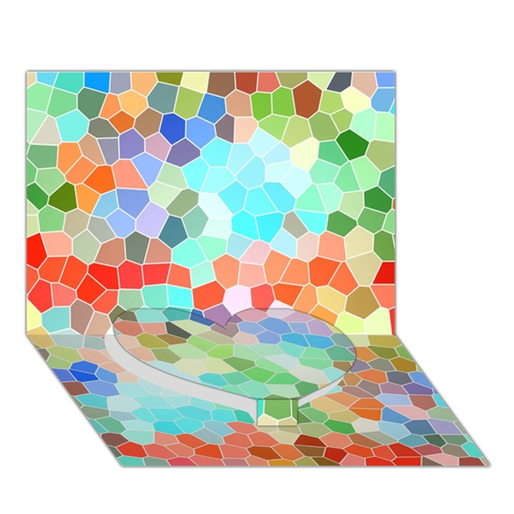 Colorful Mosaic  Heart Bottom 3D Greeting Card (7x5)
