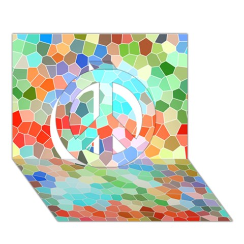 Colorful Mosaic  Peace Sign 3D Greeting Card (7x5)
