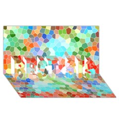 Colorful Mosaic  Best Sis 3d Greeting Card (8x4)