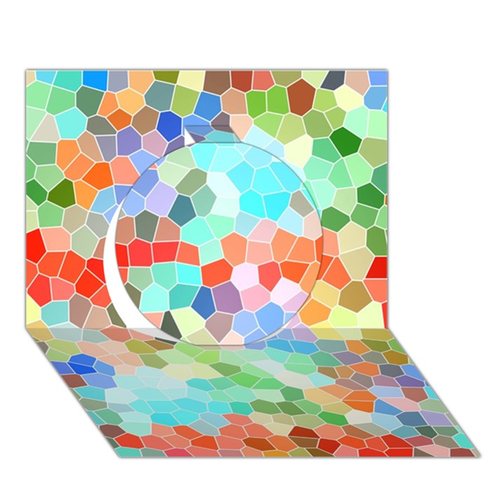 Colorful Mosaic  Circle 3D Greeting Card (7x5)