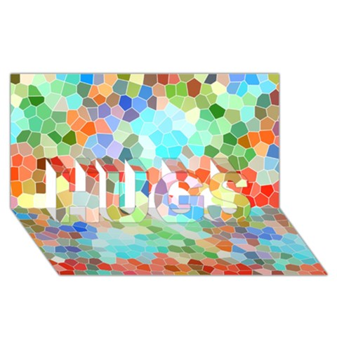 Colorful Mosaic  HUGS 3D Greeting Card (8x4)