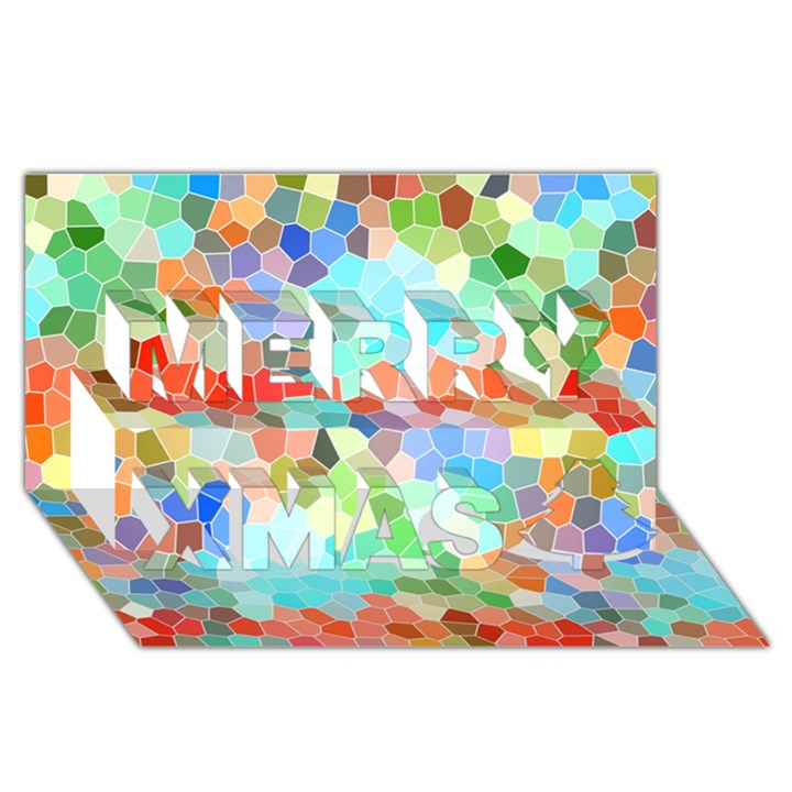 Colorful Mosaic  Merry Xmas 3D Greeting Card (8x4)