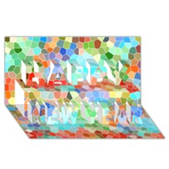 Colorful Mosaic  Happy New Year 3D Greeting Card (8x4)