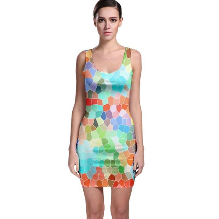 Colorful Mosaic  Sleeveless Bodycon Dress