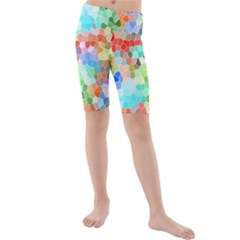 Colorful Mosaic  Kids  Mid Length Swim Shorts