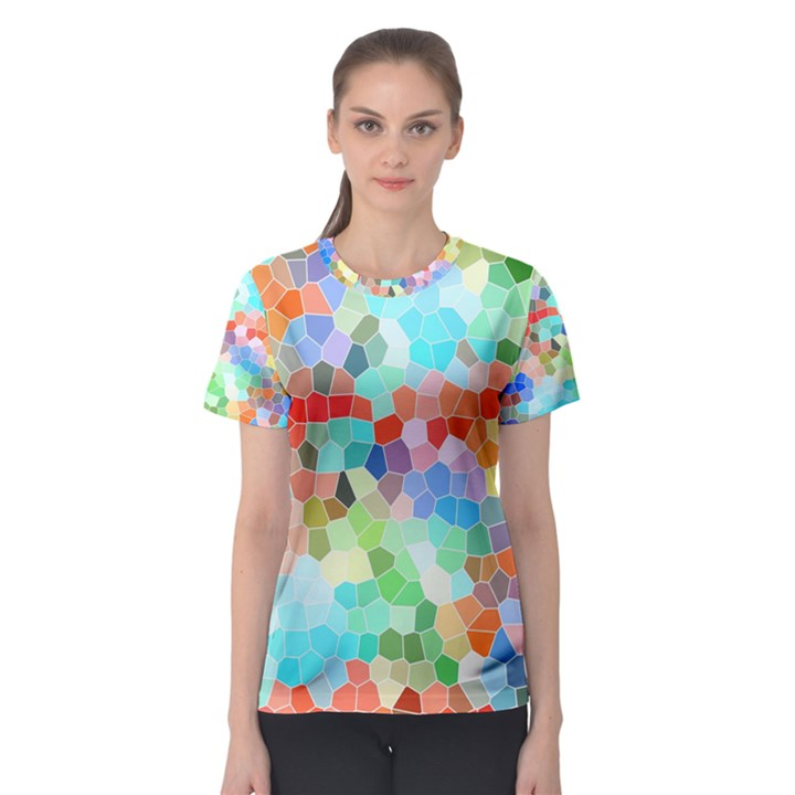 Colorful Mosaic  Women s Sport Mesh Tee