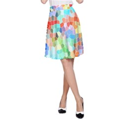 Colorful Mosaic  A Line Skirt