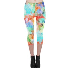 Colorful Mosaic  Capri Leggings