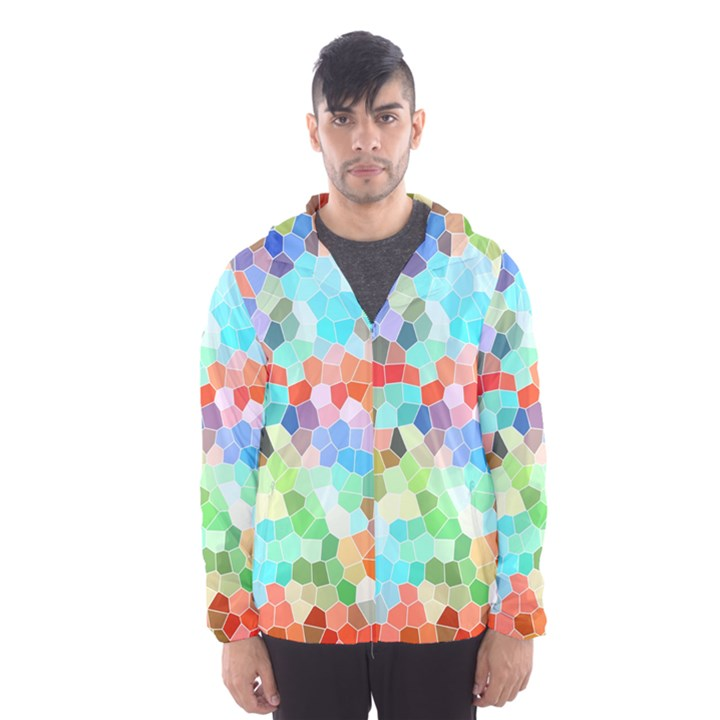 Colorful Mosaic  Hooded Wind Breaker (Men)