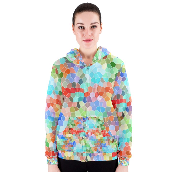 Colorful Mosaic  Women s Zipper Hoodie