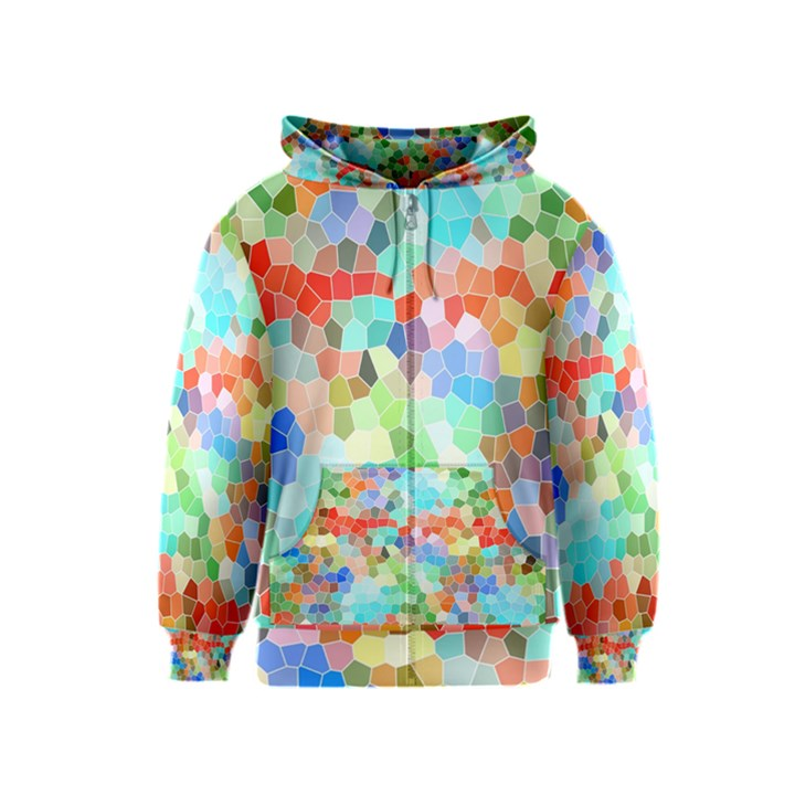 Colorful Mosaic  Kids  Zipper Hoodie