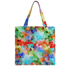 Colorful Mosaic  Zipper Grocery Tote Bag