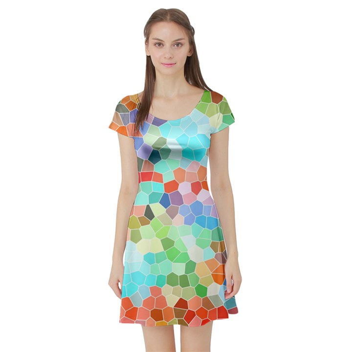 Colorful Mosaic  Short Sleeve Skater Dress