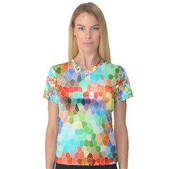 Colorful Mosaic  Women s V Neck Sport Mesh Tee