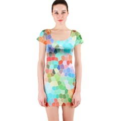 Colorful Mosaic  Short Sleeve Bodycon Dress