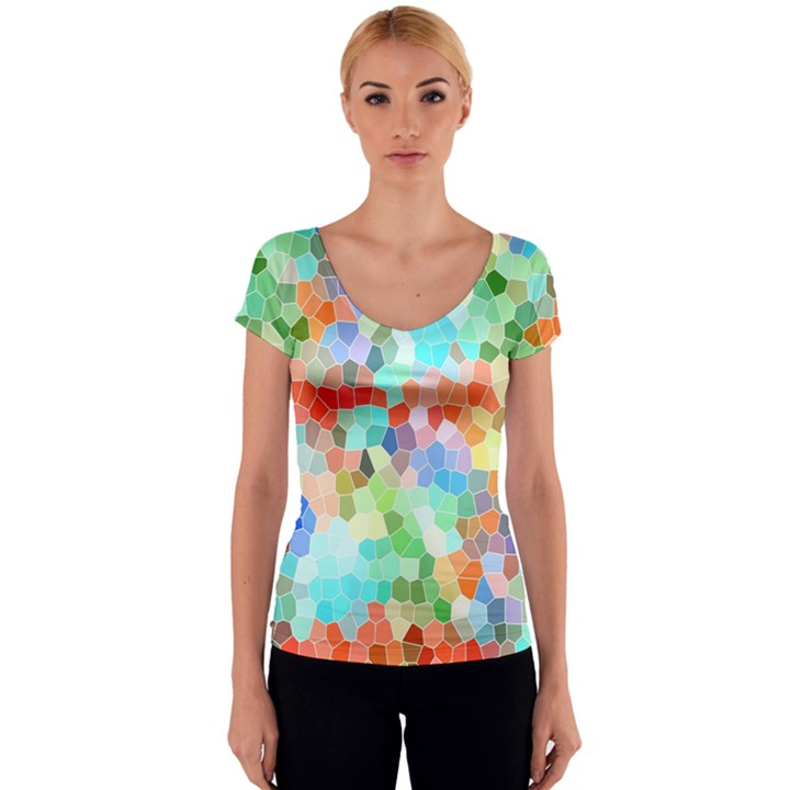 Colorful Mosaic  Women s V-Neck Cap Sleeve Top