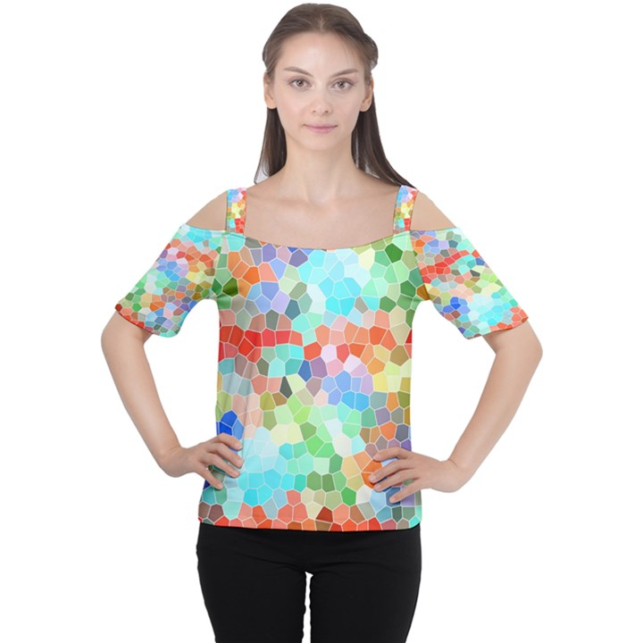 Colorful Mosaic  Women s Cutout Shoulder Tee