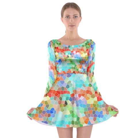 Colorful Mosaic  Long Sleeve Skater Dress
