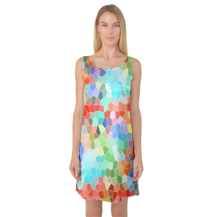 Colorful Mosaic  Sleeveless Satin Nightdress