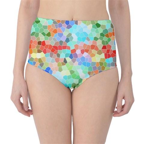 Colorful Mosaic  High-Waist Bikini Bottoms