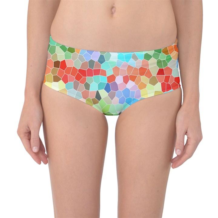 Colorful Mosaic  Mid-Waist Bikini Bottoms