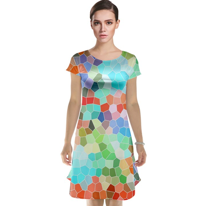 Colorful Mosaic  Cap Sleeve Nightdress