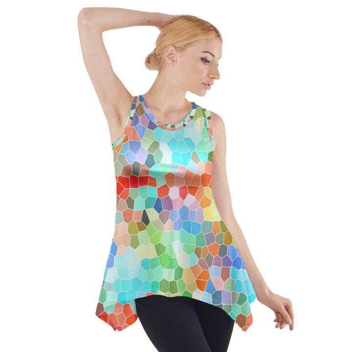 Colorful Mosaic  Side Drop Tank Tunic