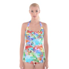Colorful Mosaic  Boyleg Halter Swimsuit