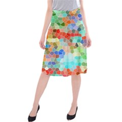 Colorful Mosaic  Midi Beach Skirt