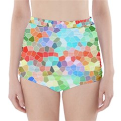 Colorful Mosaic  High-Waisted Bikini Bottoms