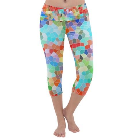 Colorful Mosaic  Capri Yoga Leggings