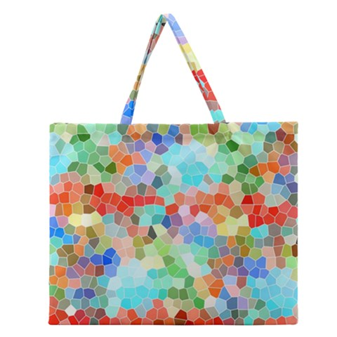 Colorful Mosaic  Zipper Large Tote Bag
