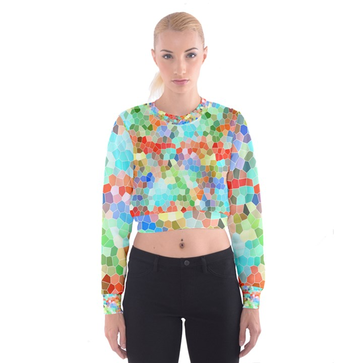 Colorful Mosaic  Women s Cropped Sweatshirt