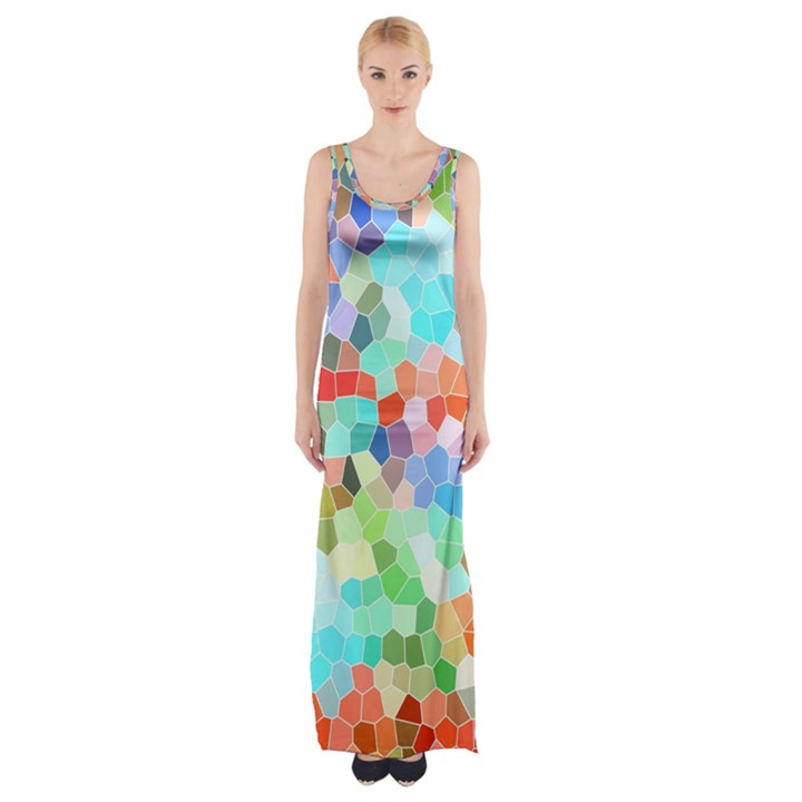 Colorful Mosaic  Maxi Thigh Split Dress