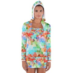 Colorful Mosaic  Women s Long Sleeve Hooded T Shirt