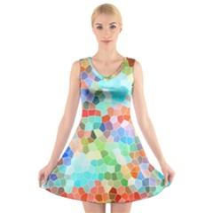 Colorful Mosaic  V Neck Sleeveless Skater Dress