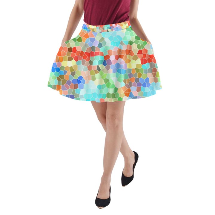 Colorful Mosaic  A-Line Pocket Skirt