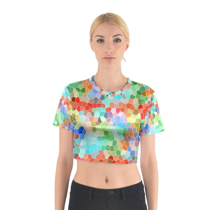 Colorful Mosaic  Cotton Crop Top