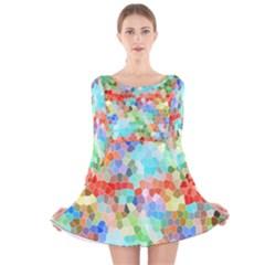 Colorful Mosaic  Long Sleeve Velvet Skater Dress