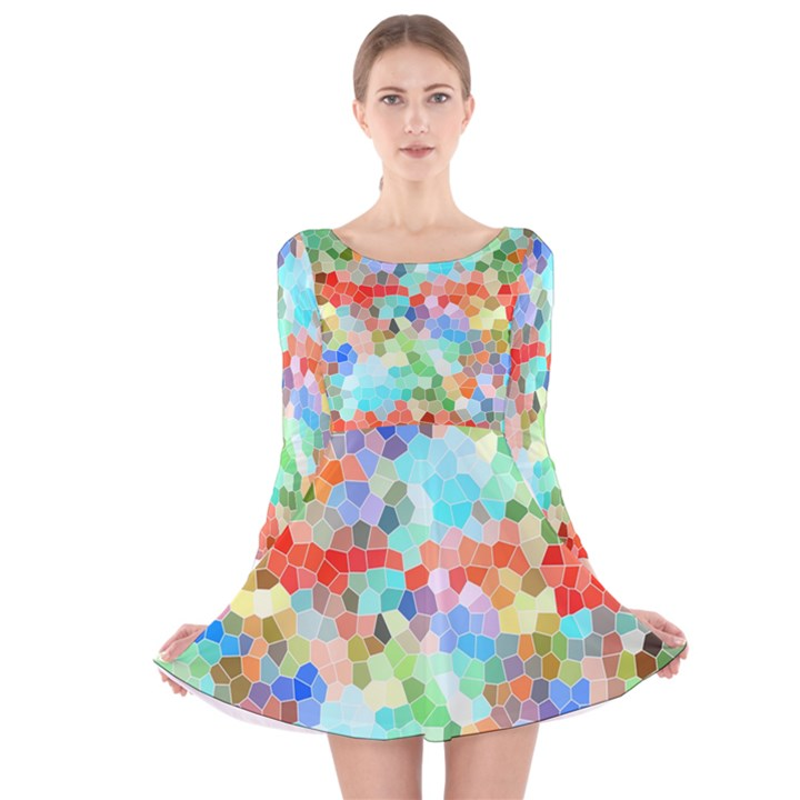 Colorful Mosaic  Long Sleeve Velvet Skater Dress