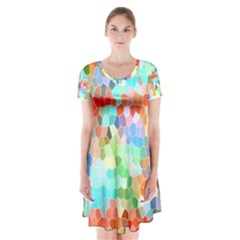 Colorful Mosaic  Short Sleeve V-neck Flare Dress