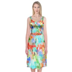 Colorful Mosaic  Midi Sleeveless Dress