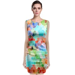 Colorful Mosaic  Classic Sleeveless Midi Dress