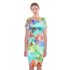 Colorful Mosaic  Classic Short Sleeve Midi Dress
