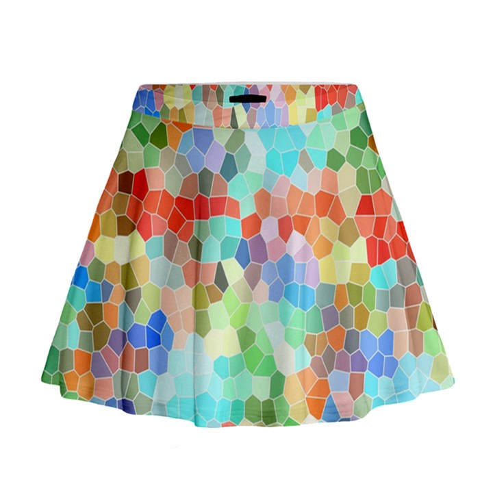 Colorful Mosaic  Mini Flare Skirt