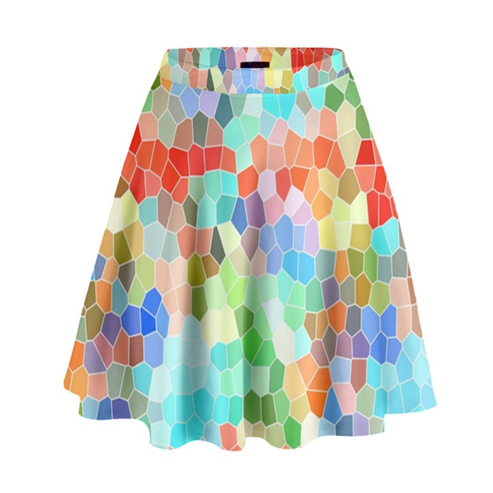 Colorful Mosaic  High Waist Skirt