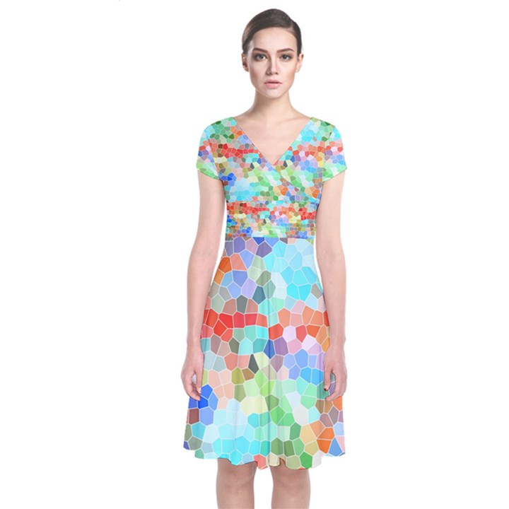 Colorful Mosaic  Short Sleeve Front Wrap Dress